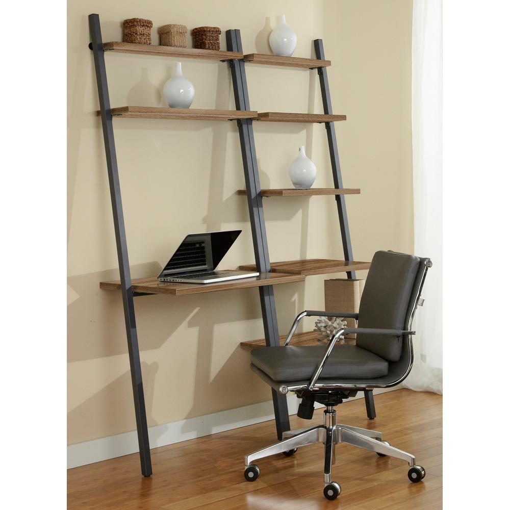 Parson Ladder Desk Amp Bookcase Steel Frame Walnut Dcg Stores Bookcase Ladder Bookcase Leaning Desk