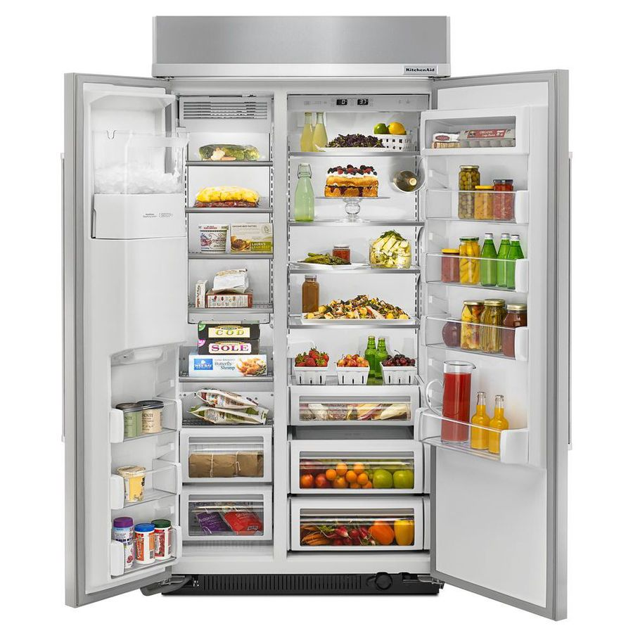 Shop KitchenAid 25 Cu Ft Built In Side By Side Refrigerator With Single Ice  Maker (Stainless Steel) ENERGY STAR At Lowes.com