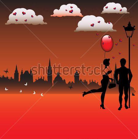 Ilustração Colorida Abstrata Com Silhuetas DO Jovem Casal, Nuvens ...