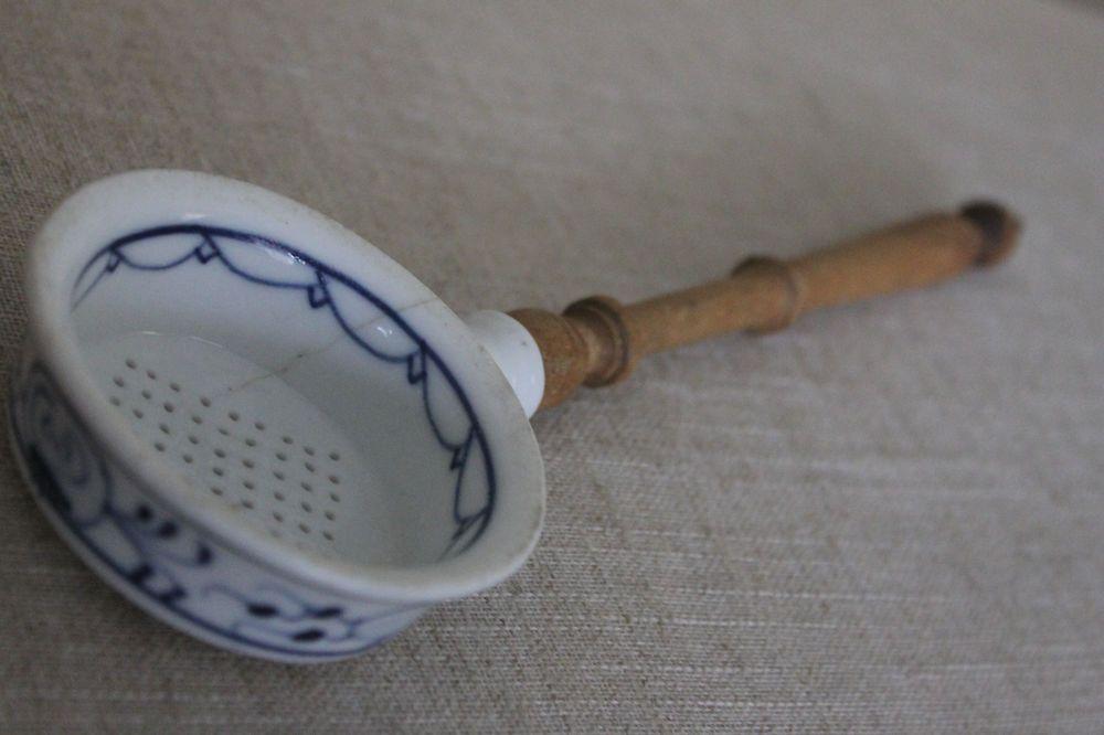 Antique German Blue Onion Kitchen Utensil Strainer