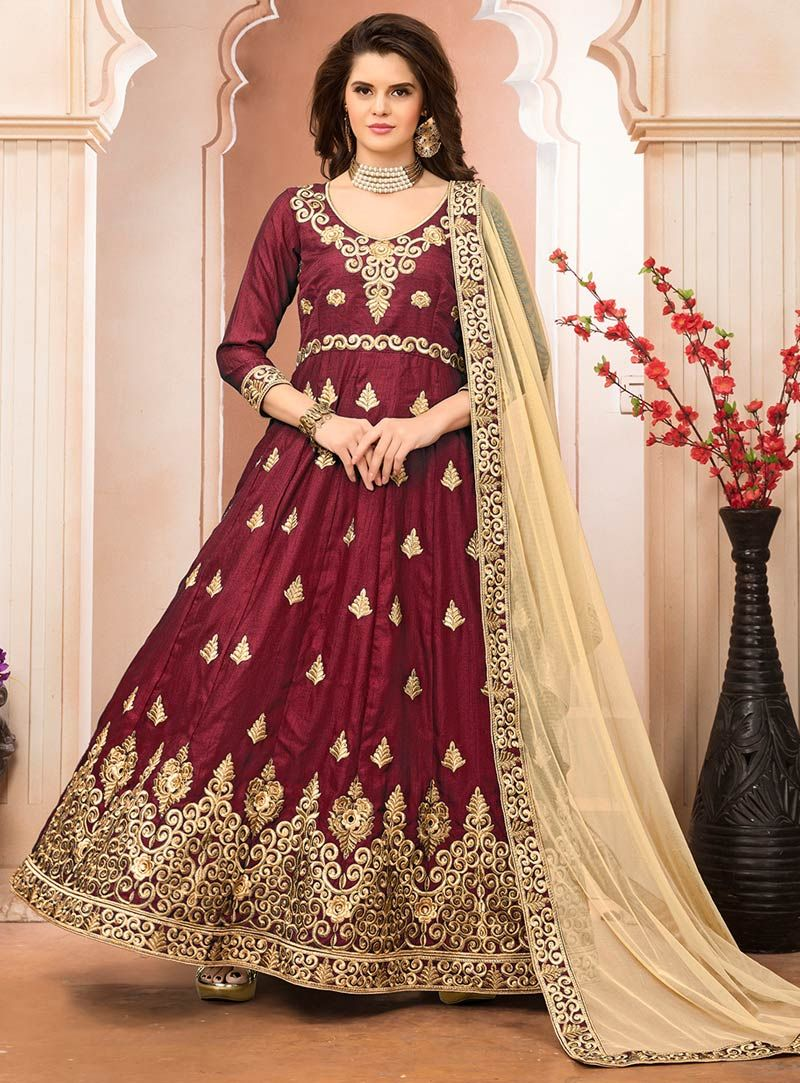 Maroon banglori silk embroidery work long anarkali suit