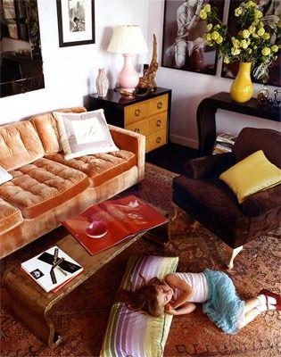 Apricot Velvet Sofa. By Miles Redd.