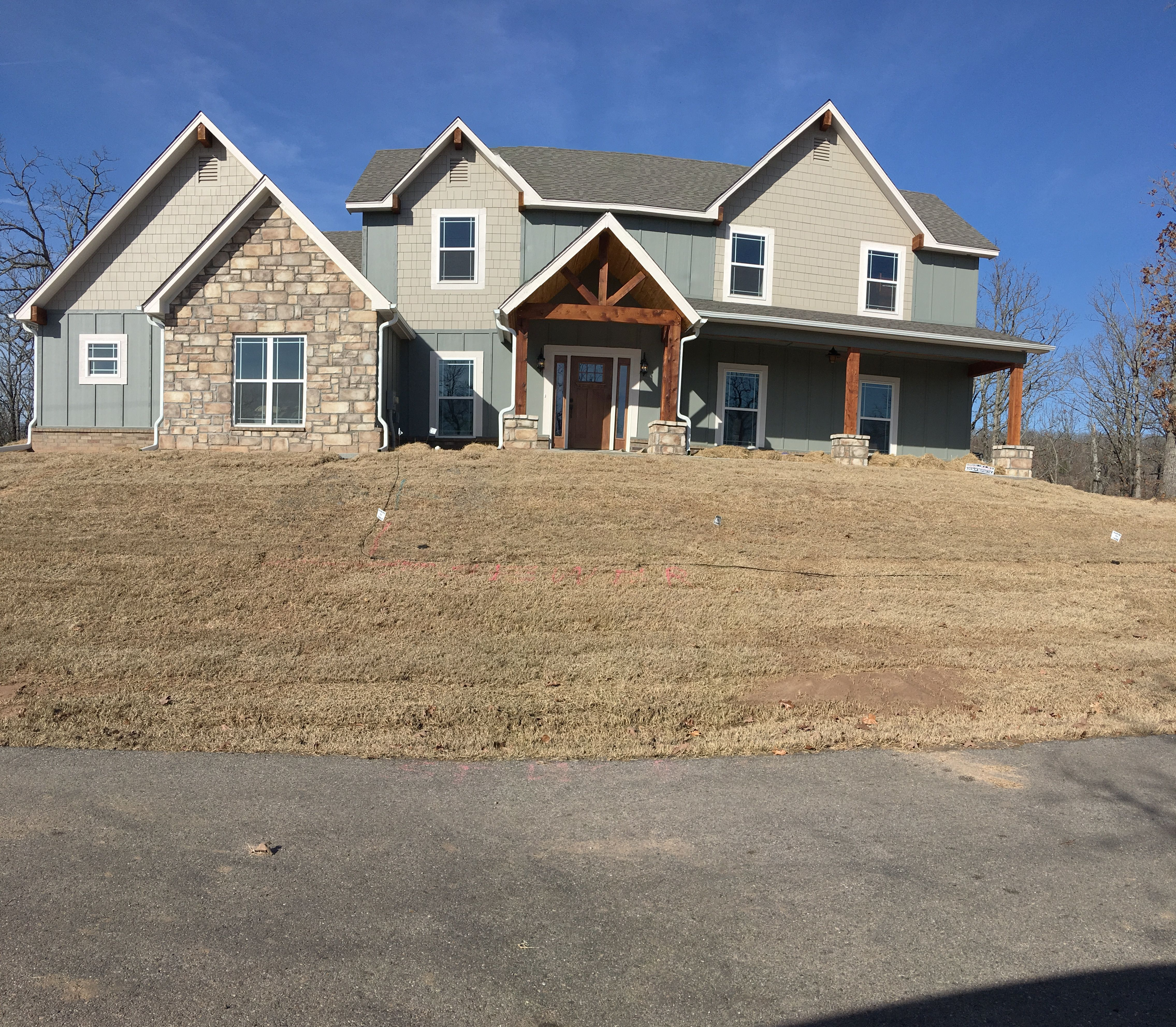 Exterior Two Story Home With Hardi Backer Siding Stone Accents And Much More House Styles Building A House Custom Homes