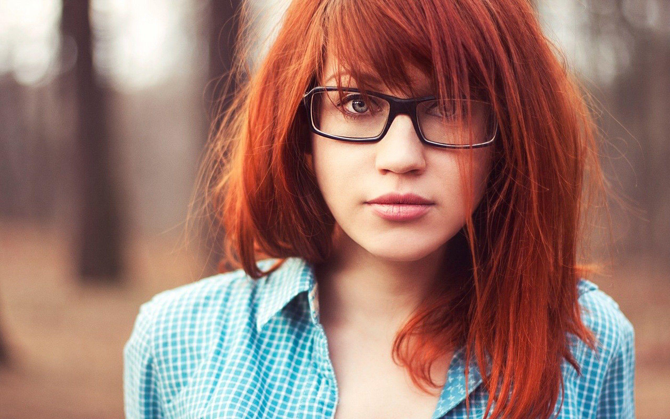 Women Redheads Glasses Face Wallpaperg