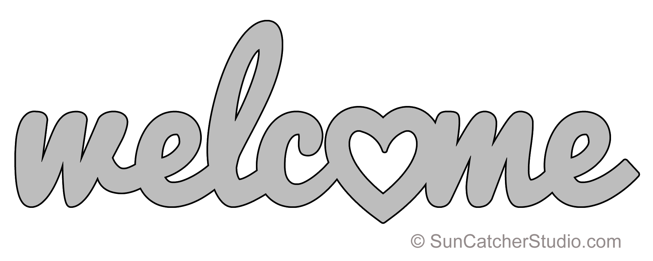welcome heart pattern template stencil printable word art