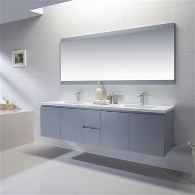Adams 72 Inch Vanity With Solid Surface Top Floating Double