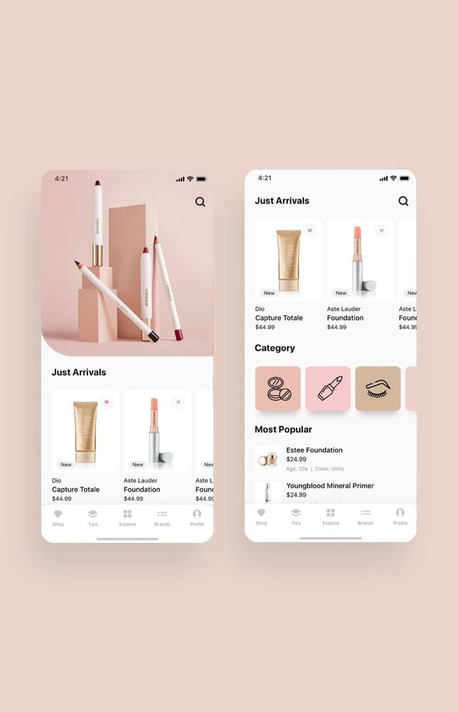 Cosmo Beauty App UI Kit — UI Place