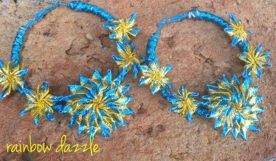 Gota flower earrings Rainbow Dazzle