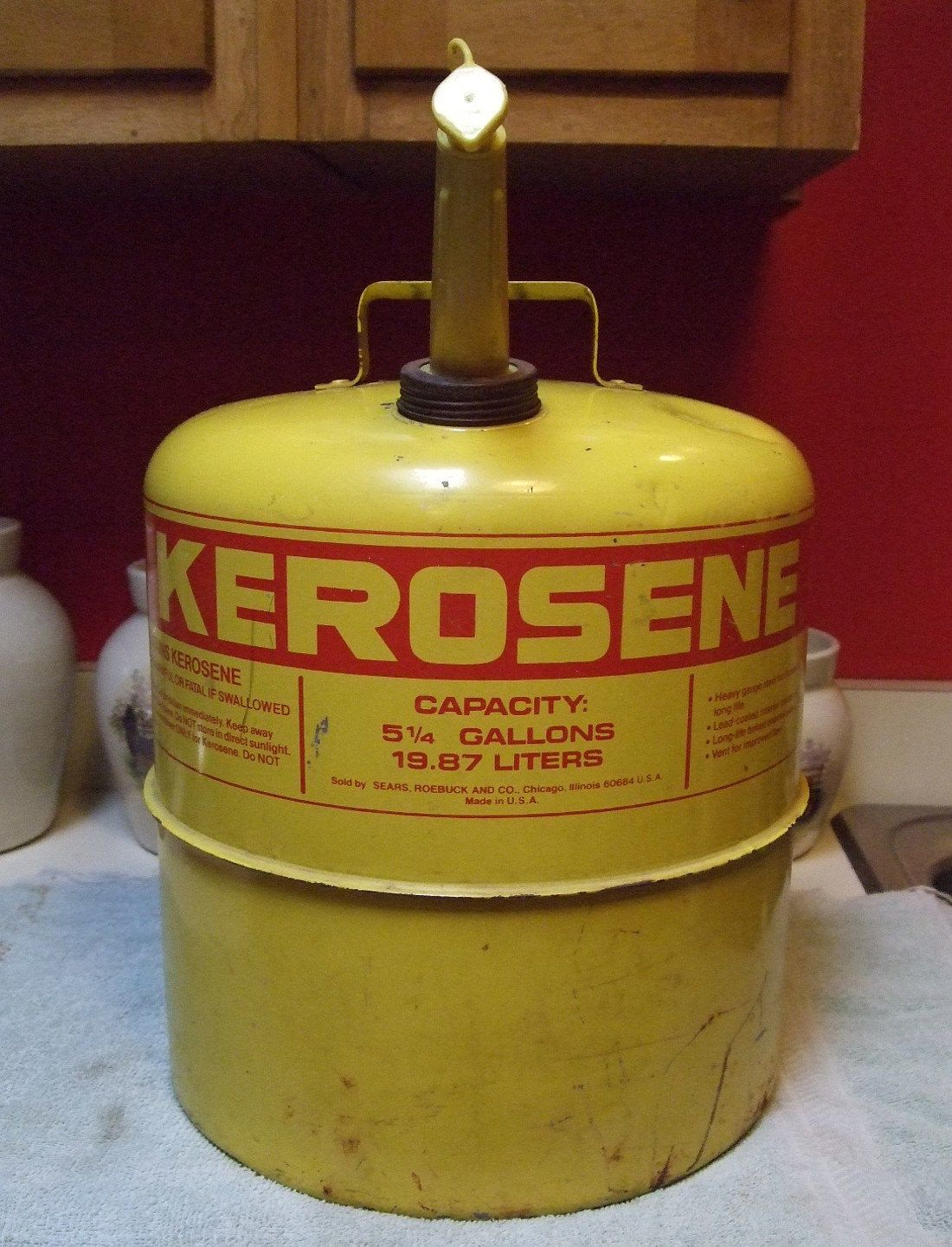 Rare Sears Craftsman Yellow Kerosene Oil Gas Can Approved Fire Marshall 1977 Original Spout Brass Screen 5 1 4 Gallons Roebuck Gas Cans Roebuck Sears Craftsman