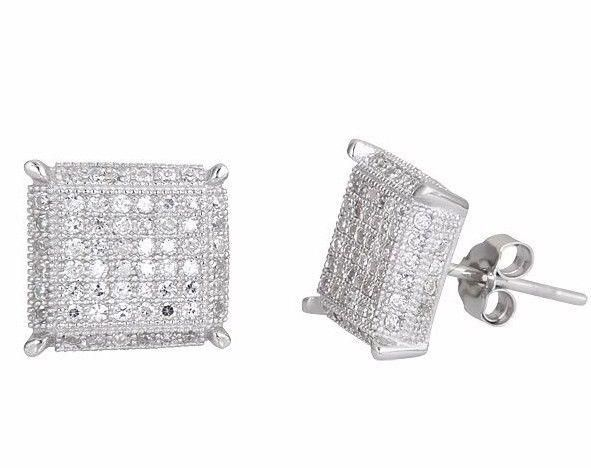 15d6a121d New Square Design Men Fashion Micro CZ Pave .925 Sterling Silver Stud  Earrings