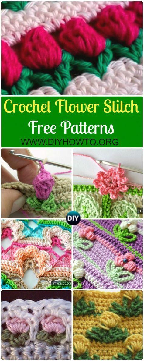 Inline Crochet Flower Stitch Free Patterns Crochet Ideas