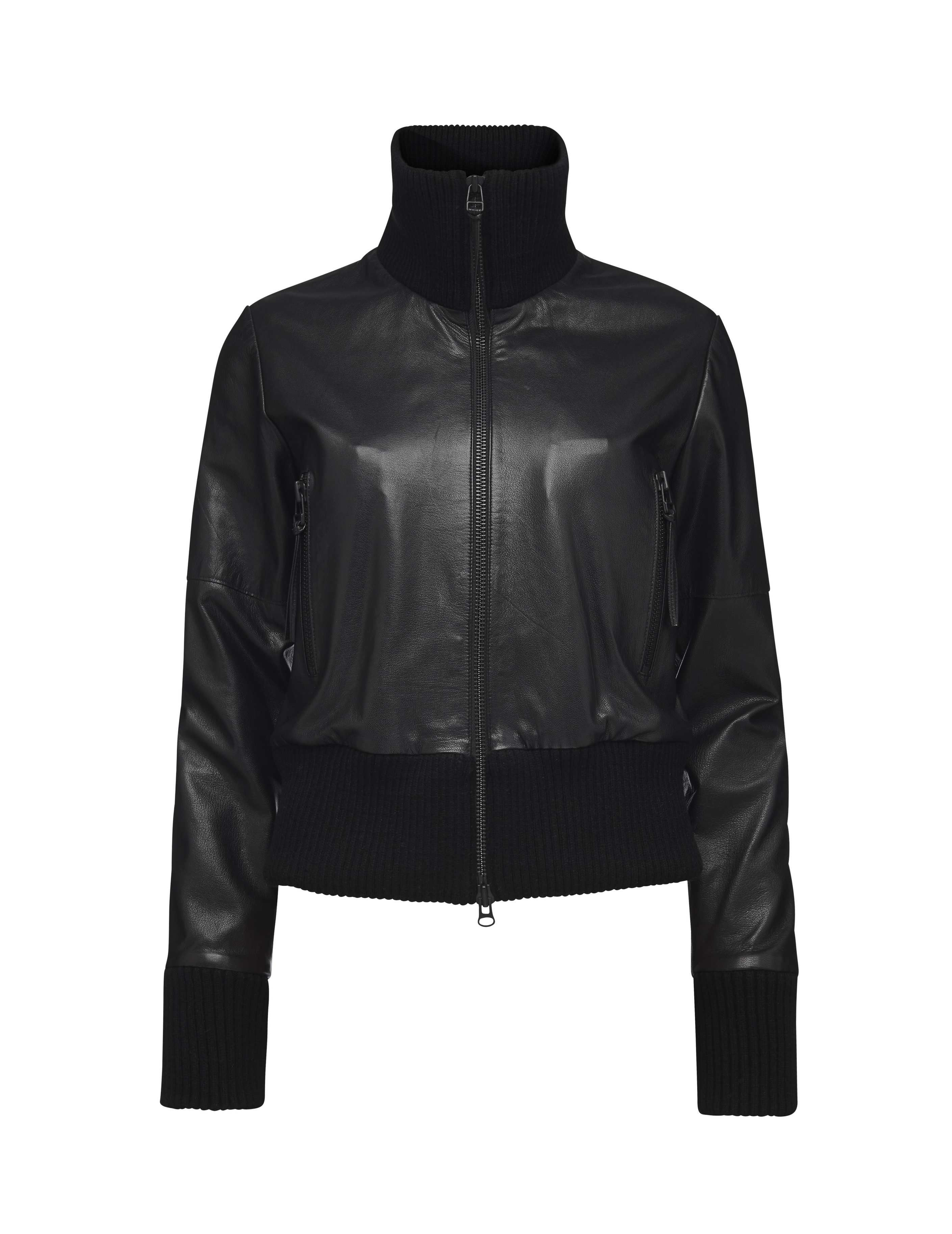 Women S Jacket In Leather Features Front Zip Fastening High Ribbed Collar In Knitted Cotton And Ribbed Trim At Cu Jackets Outerwear Details Jackets For Women [ 3652 x 2818 Pixel ]