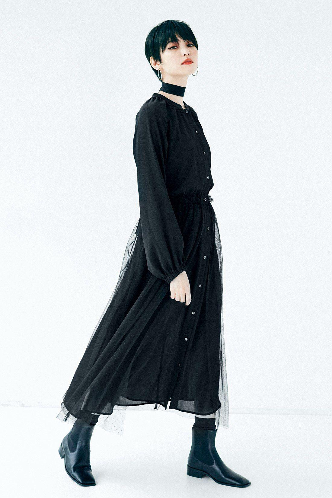 3 10日でお届け iedit イディット ドレスライクなシアー素材 シャツワンピース ブラック フェリシモ パーティードレス 黒 モード系ファッション レディース モード系ファッション