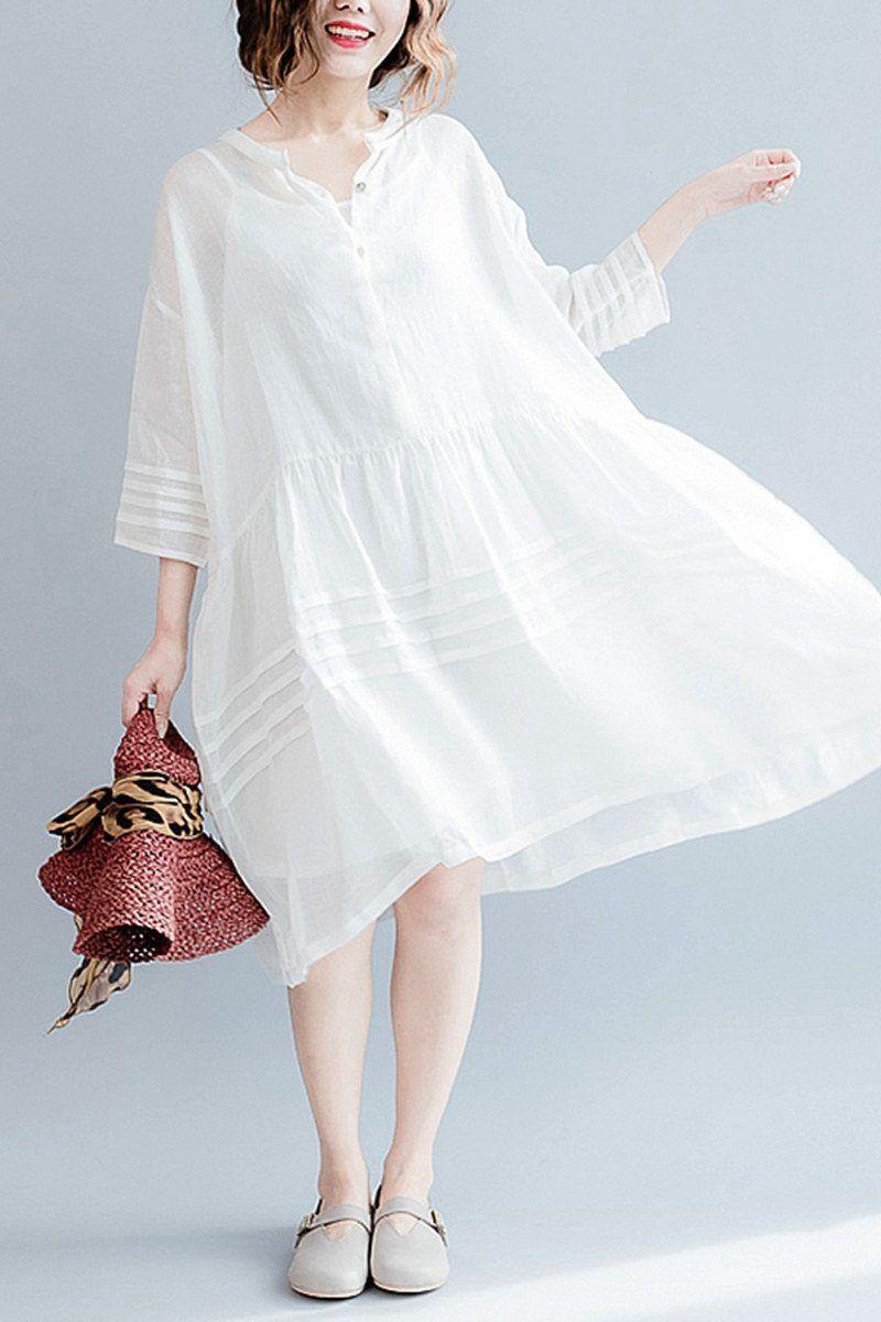 b00c931d46e White Casual Big Hem Linen Summer Shirt Dresses Women Clothing Q3108 -  FantasyLinen