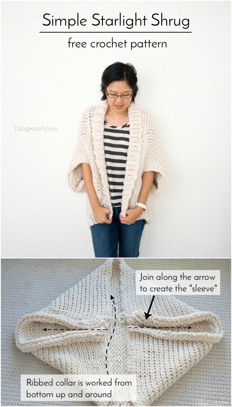 Simple Starlight Shrug Crochet Pattern | Tejido, Chaqueta de ...