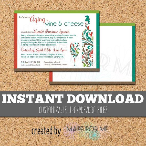 INSTANT DOWNLOAD Wine INVITATION Digital Template Print at Home