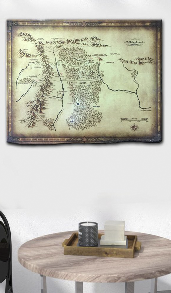 One Ring Map Print Wooden Wall Decor Lord of the Rings Map Of