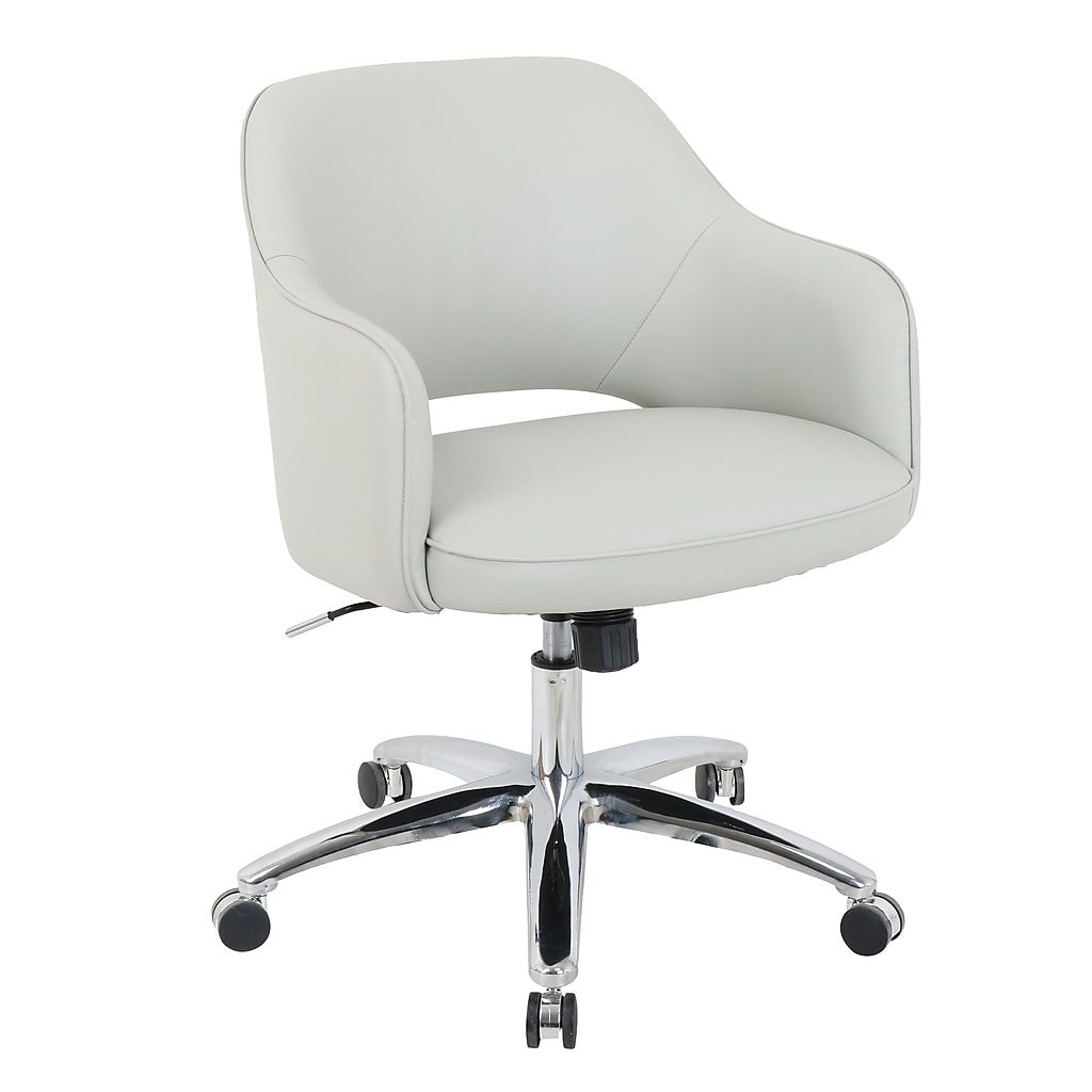 Staples Com Global Renwick Faux Leather Office Chair Fog Gray 10143 2 With Fast And Free Shipping O In 2020 Leather Office Chair Best Office Chair White Desk Chair