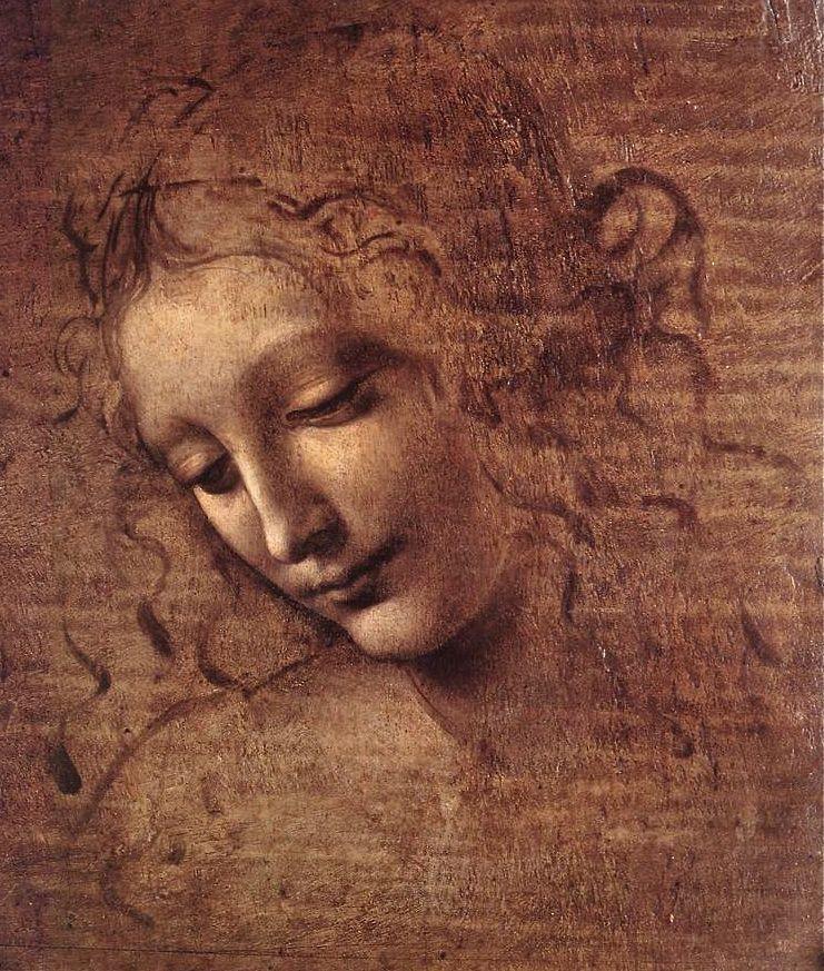 "Leonardo da Vinci ~ ""Female Head"" (Italian, 1452 –1519) oil on panel, c. 1508"