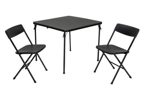Cosco Cosco 3 Piece Folding Table And Chair Set Black Outdoor