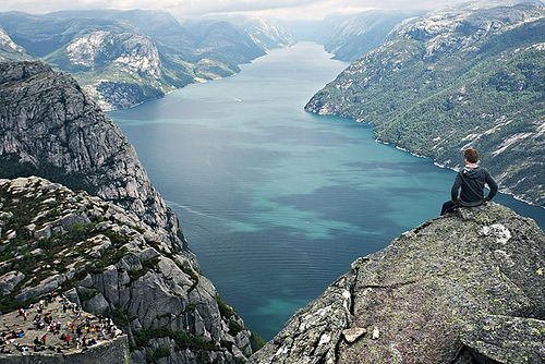 High above Pulpit Rock / Prekestolen , Norway