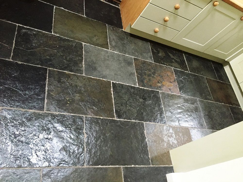 This Small Rough Chinese Slate Floor In The Kitchen Of A House In