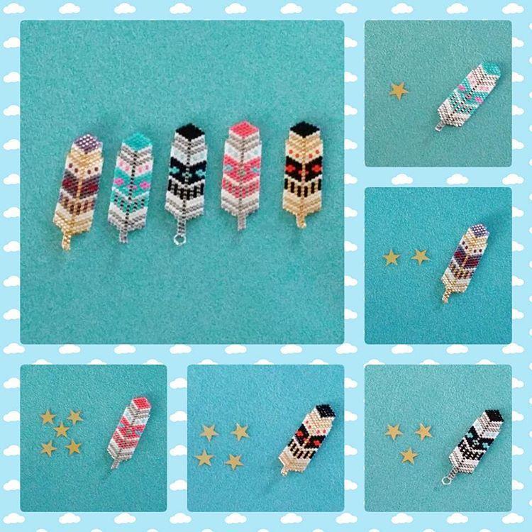 «Les petites plumes multicolores  Vous préférez laquelle ? Votez 1, 2, 3, 4 ou 5   #rosemoustache #plume #voter #miyuki #nuage #jenfiledesperlesetjassume…»
