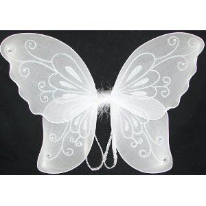 White Adult Tinkerbell Pixie Butterfly Fairy Wings Dress Up Girls Costume