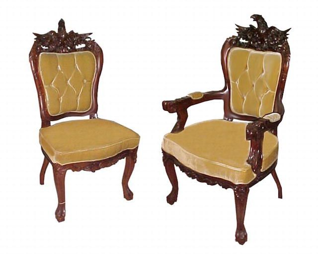 Elegant Fabulous 19th C. American Victorian Carved Eagle Chair Set Including Two  Armchairs And Two Side