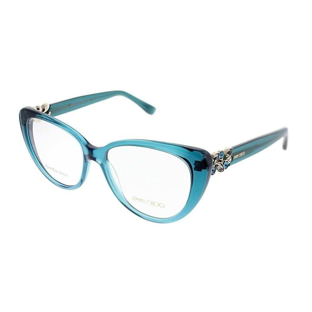 09430b589042 Jimmy Choo Cat-Eye JC 120 W5X Women Transparent Petroleum Green Frame  Eyeglasses