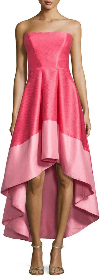 ML Monique Lhuillier Strapless Colorblock Cocktail Dress, Melon