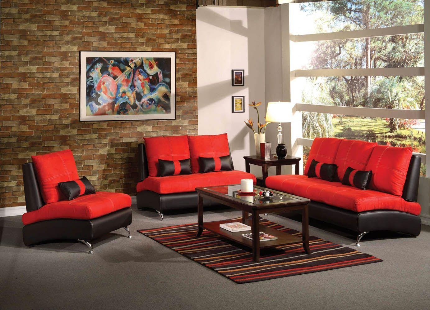 Room · Red Suede Living Room Set