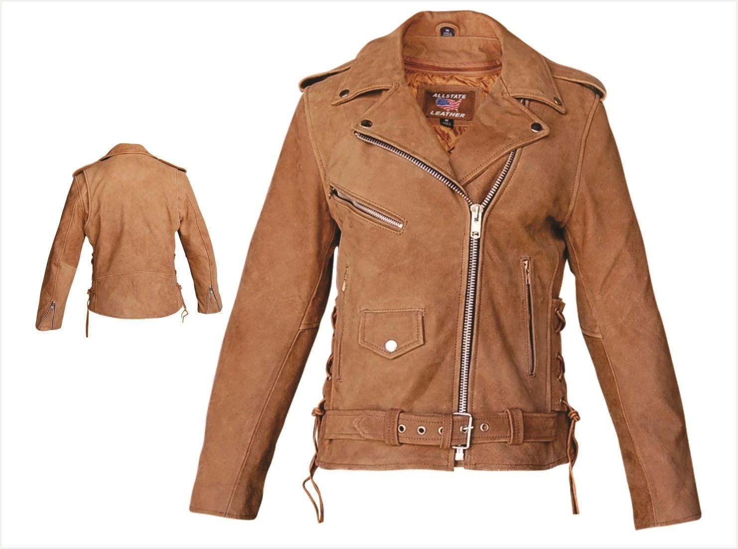 Womens Brown Leather Motorcycle Jacket with Side Lace & Zip-Out ...