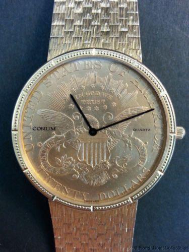 e0d439eabb0c8 Men s 18k Gold Corum Coin Watch 1896  20 Double Eagle Quartz