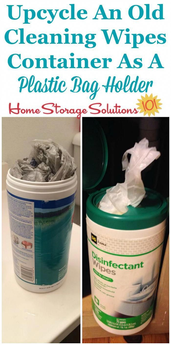 Upcycle and reuse an old cleaning wipes container to hold a …