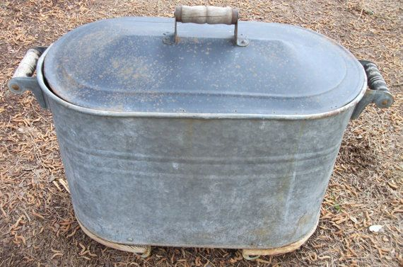 Antique Metal Galvanized Tub With Lid Wooden Handles And Castors