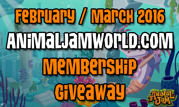 February/March 2016 Free Animal Jam Membership Giveaway feb-mar ...