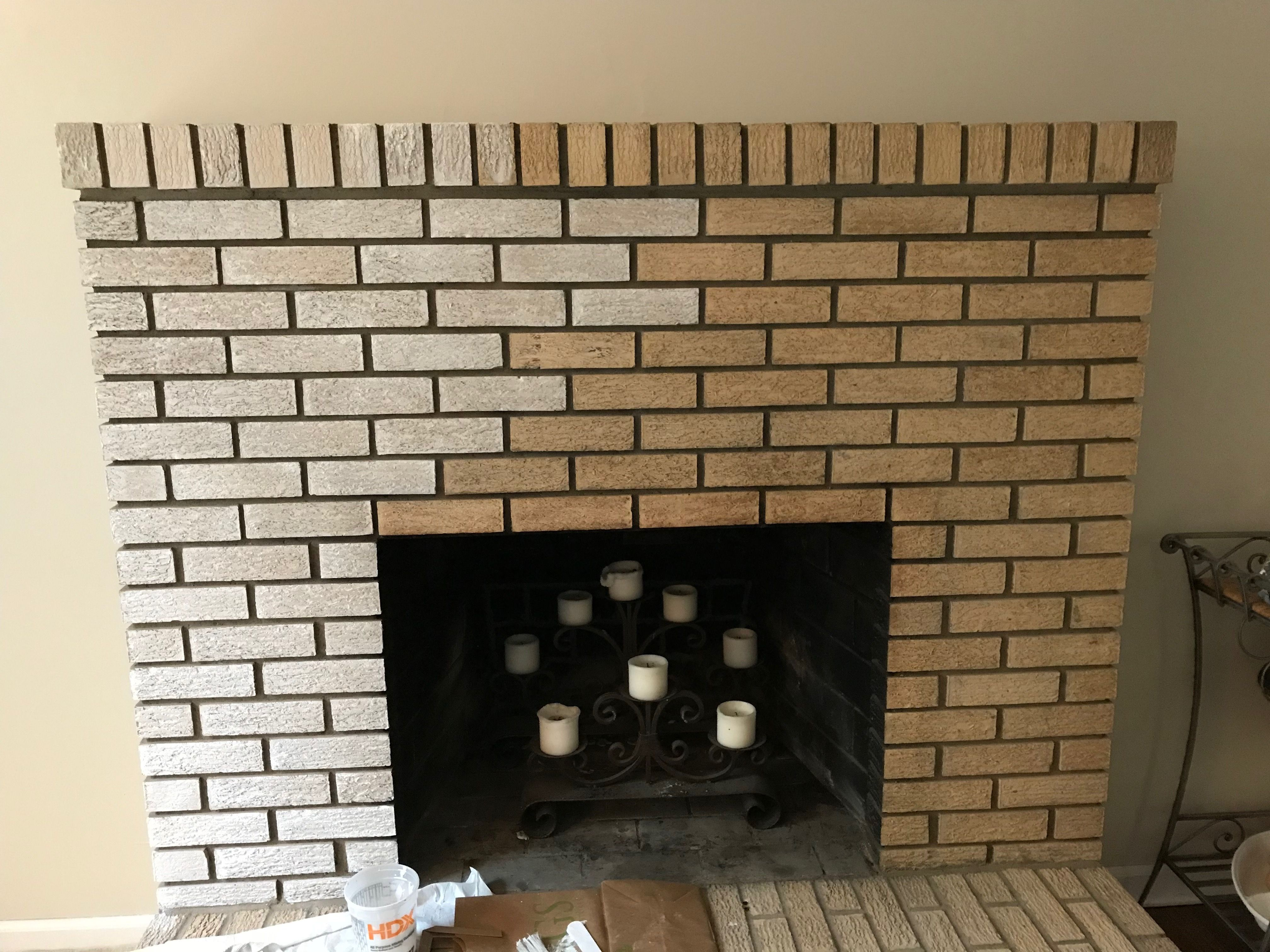 Update A Yellow Brick Fireplace By Whitewashing It Brick Fireplace Brick Fireplace Remodel Fireplace Trim