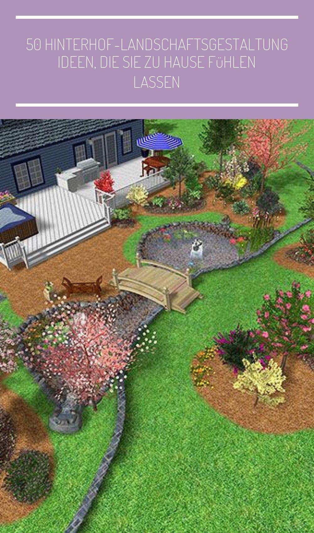 50 Hinterhof Landschaftsgestal Backyard Landscaping Large Yard Landscaping Backyard