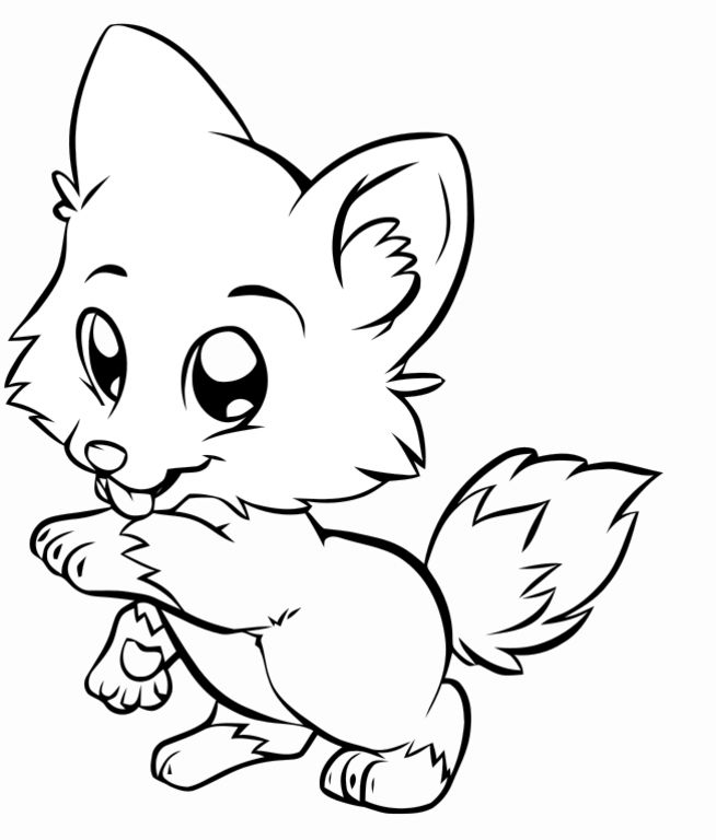 Cute Cartoon Puppy Coloring Page