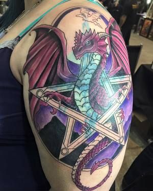Dragon And Pentagram Cover Up Tattoo By Tegen Beyer Of Goodfellow