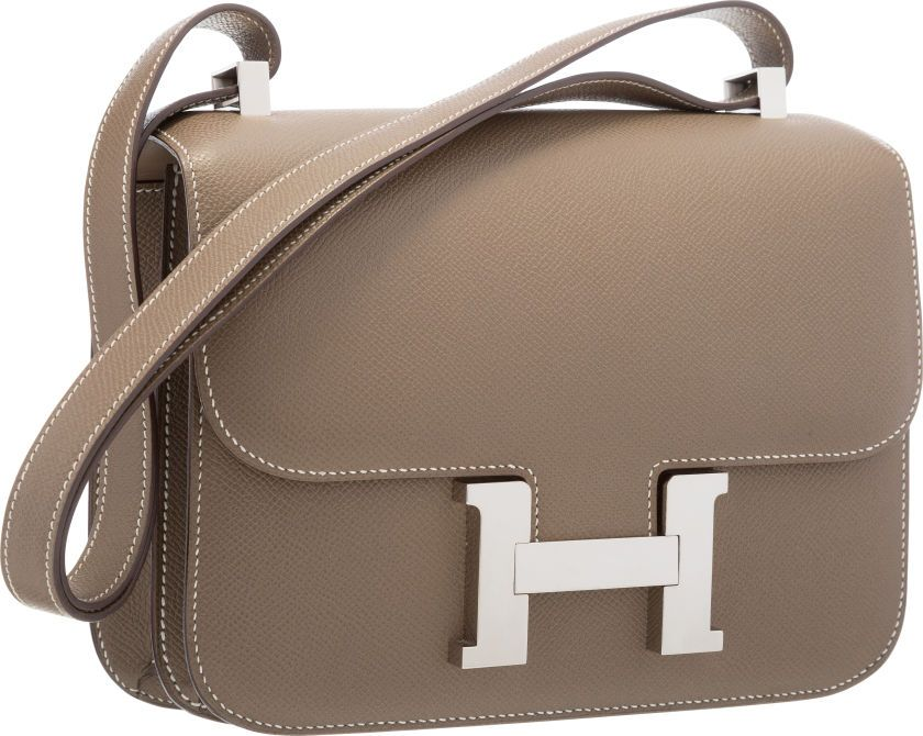Luxury Accessories:Bags, Hermes 23cm Etoupe Epsom Leather Double Gusset Constance Bag withPalladium Hardware . Very Good to Excellent Condition ... Image #1