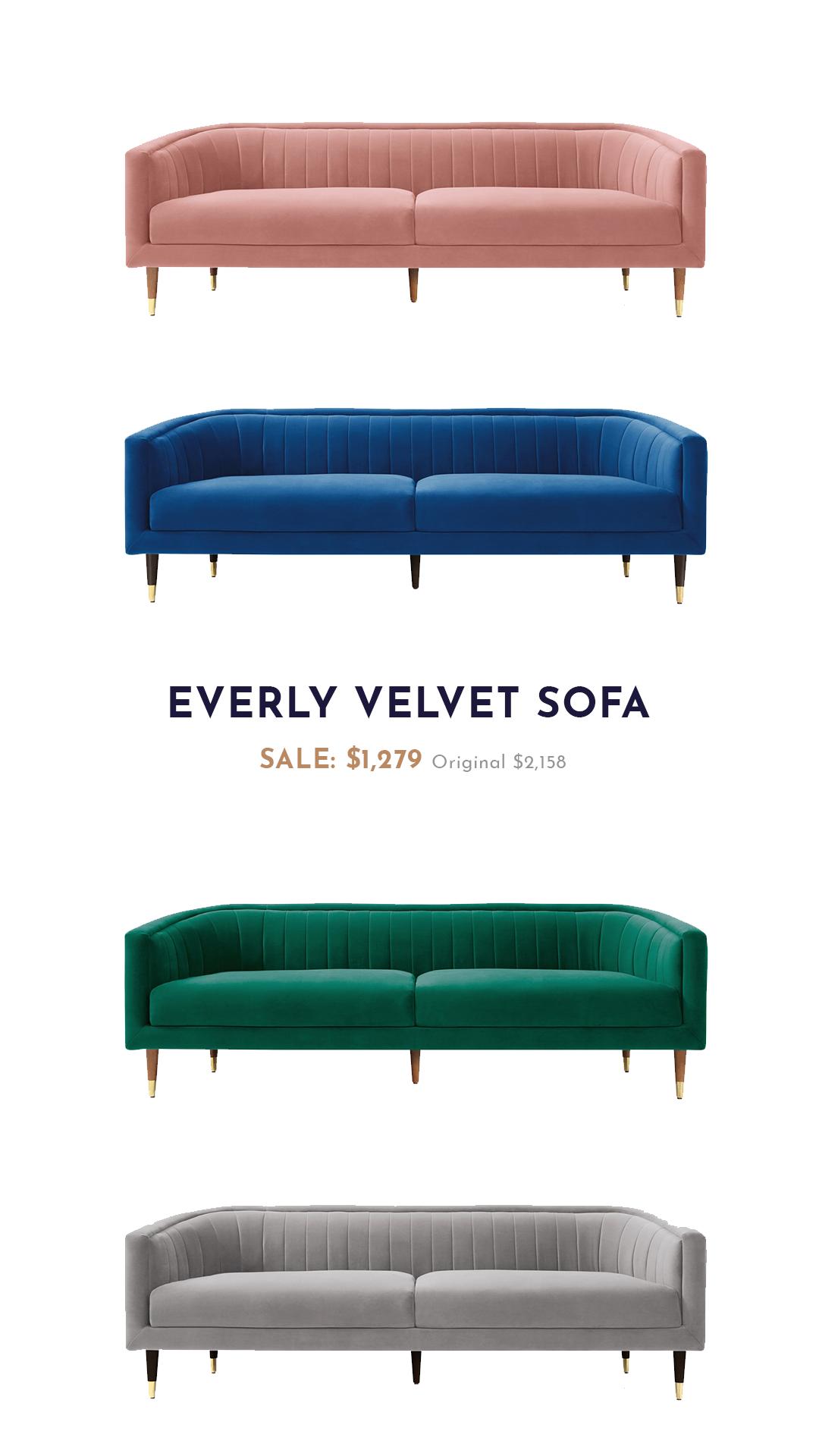 Everly Velvet Sofa Velvet Sofa Living Room Sofa Sofa Styling