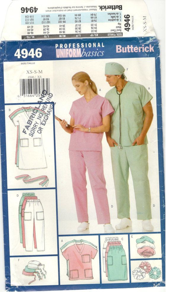 Butterick 4946 Size Xs S M Nursing Scrubs Sewing Pattern For