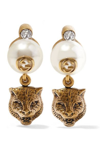 4689db4b7 GUCCI Burnished gold-plated, crystal and faux pearl clip earrings. Made in  Italy