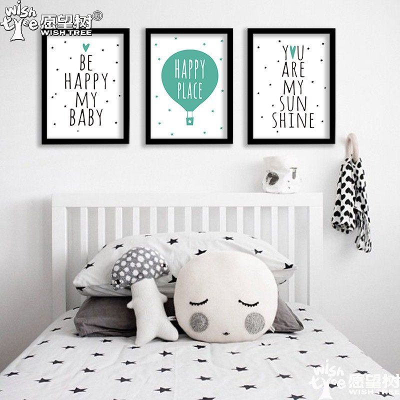 Nordic decoration be happy posters and prints wall art canvas painting canvas art wall pictures for living room no poster frame