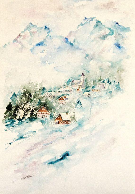 Aquarelle Originale De Paysage De Montagne Aquarelle D Hiver