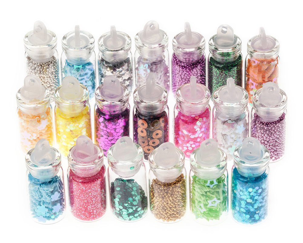 20 Small Bottles Premium Colour Manicure Nail Art Glitter Decorations By Cheeky®