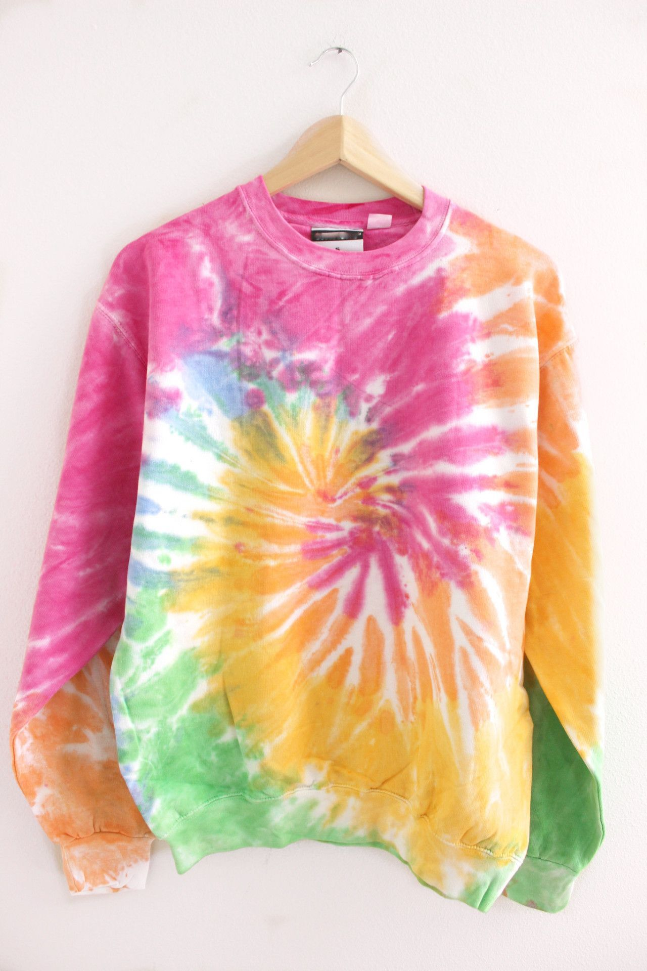 d562444c Pink, orange, yellow, blue and green, pastel rainbow tie-dye crew neck  sweatshirt. Made from 80% cotton and 20% polyester. Since each hoodie is  hand-dyed, ...