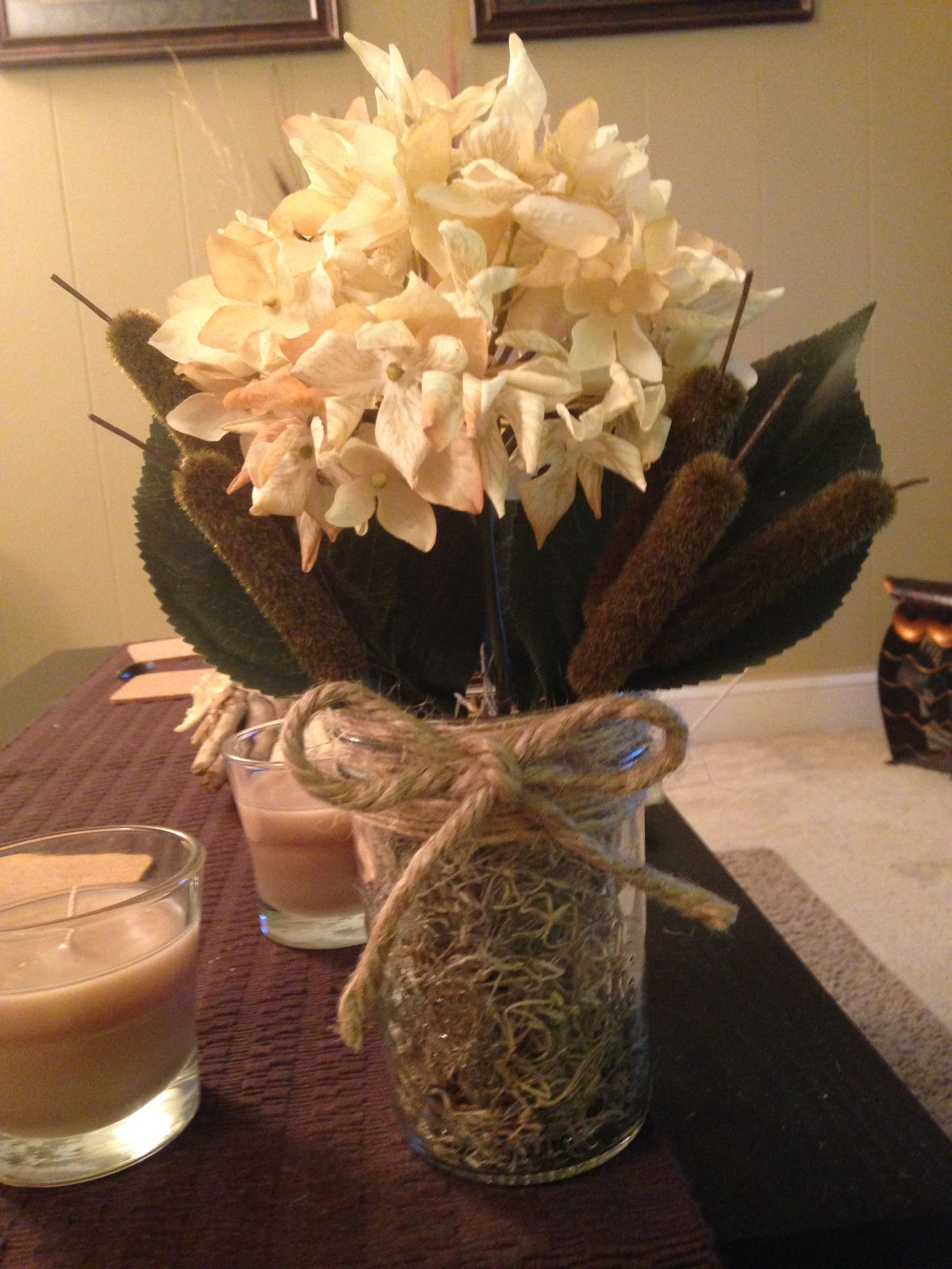 i made this with an old mason jar that i filled with spanish moss
